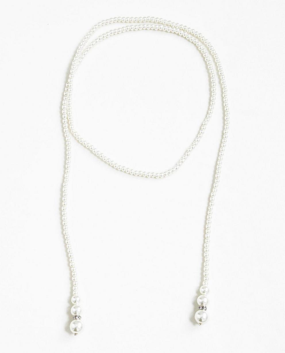 Lange Halskette - mit weißen Perlen - Milla Star